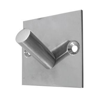 Single Robe Hook on Square Backplate - Polished Stainless Steel