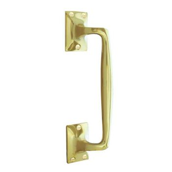 Cranked Victorian Brass Pull Handle - Polished Brass