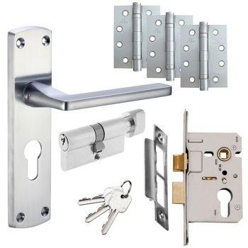 Leon Door Handle Set - Euro Lock Door Pack - Satin Chrome