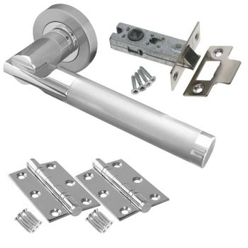 Lydia Door Handle Set - Latch Door Pack - Polished Chrome / Satin Chrome
