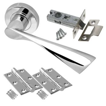 Marina Door Handle Set - Latch Door Pack - Polished Chrome
