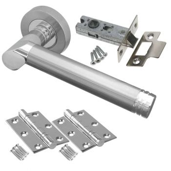 Octavia Door Handle Set - Latch Door Pack - Polished Chrome / Satin Chrome