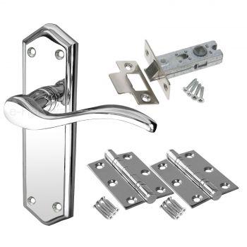 Paris Door Handle Pack - Latch Door Pack - Polished Chrome