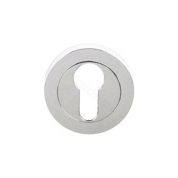 Status Standard Euro Profile Keyhole Escutcheon On Round Rose - Polished Chrome