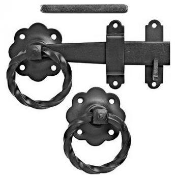 1137 Ring Gate Latch - Twisted Ring 150mm / 6inch - Epoxy Black