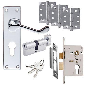 Victorian Scroll Door Handle Set - Euro Lock Door Pack - Polished Chrome