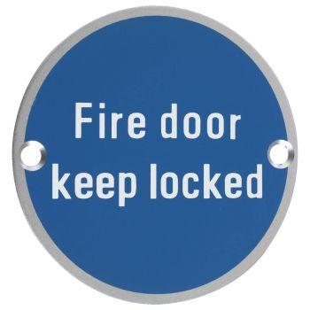 Fire Door Keep Locked Symbol - 76mm Signage