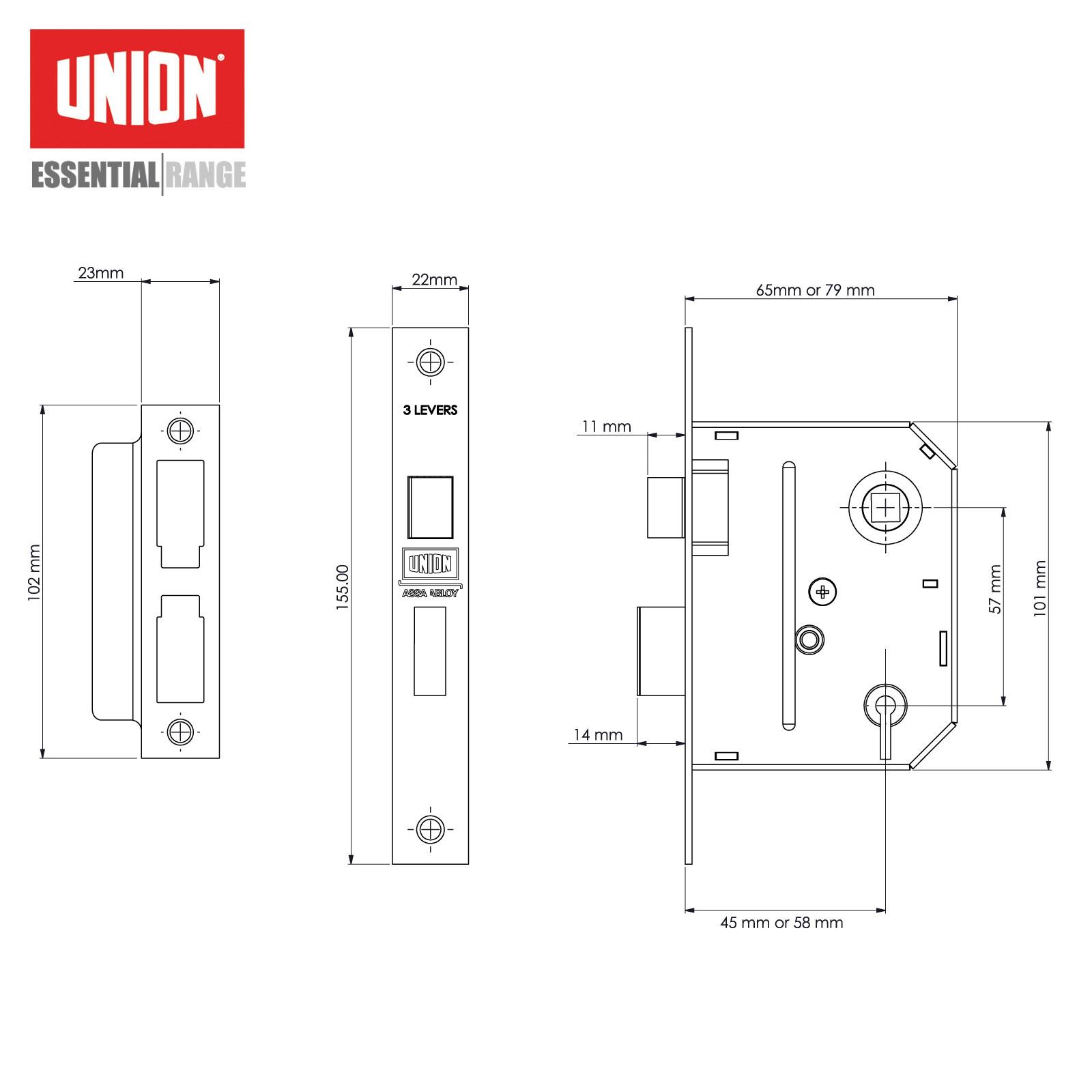 DIY Materials Union 3 Lever Sashlock Door Locks & Lock Mechanisms
