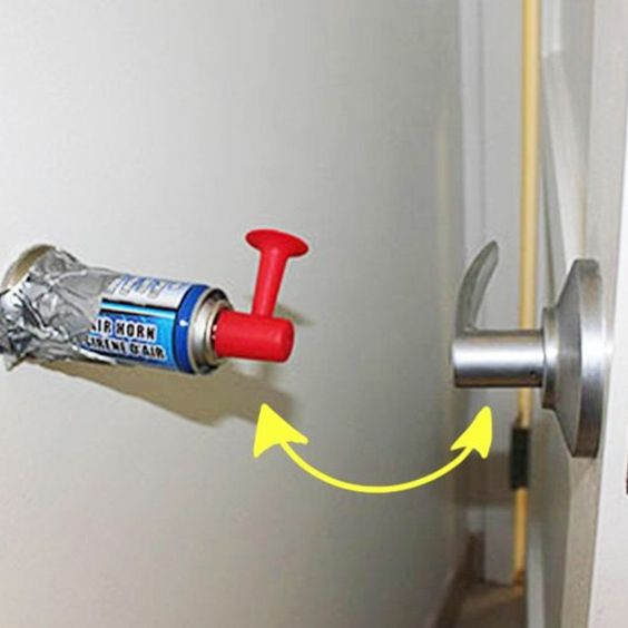 an air horn behind a door handle