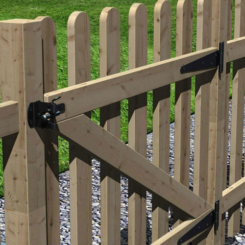 Black Tee Hinges on a Wooden Picket Gate