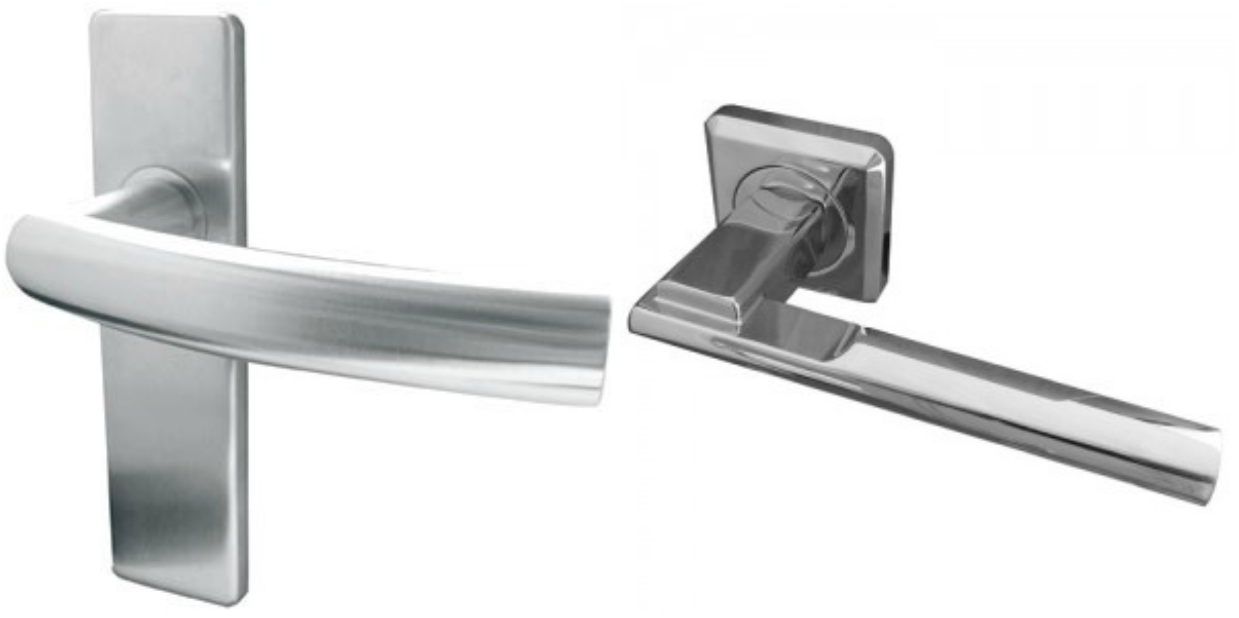 shiny stainless steel door handles