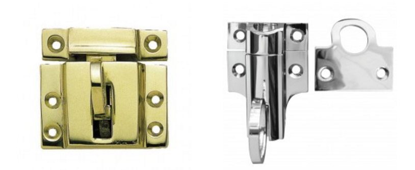 brass and steel window catches