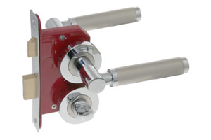Lever on rose door handle with bathroom lock and turn and release
