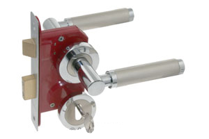 Lever on rose door handle with sash lock and key hole escutcheon
