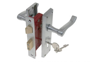 Lever lock door handle on backplate