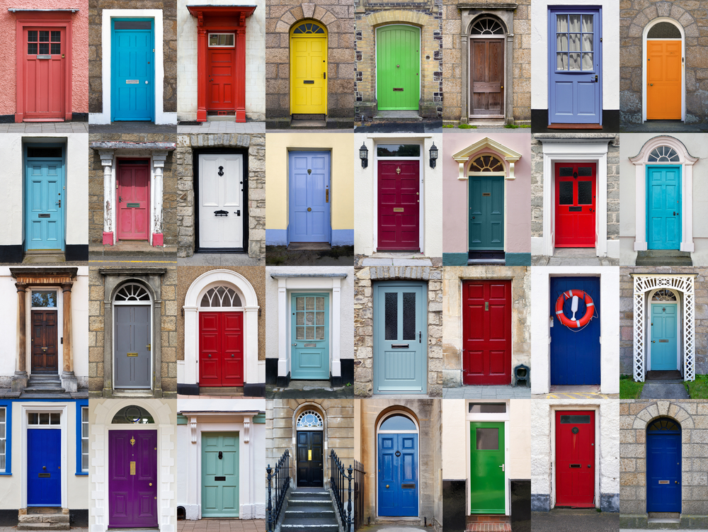 lots of colourful doors and door handles